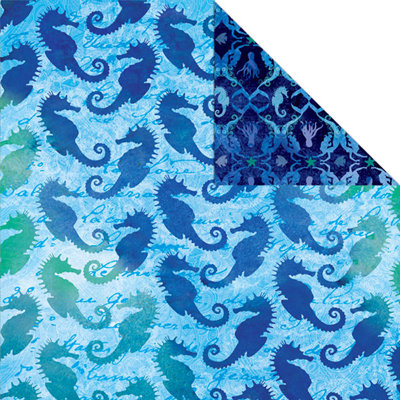 Creative Imaginations - Oceana Collection - 12 x 12 Double Sided Paper - Seahorse Medley