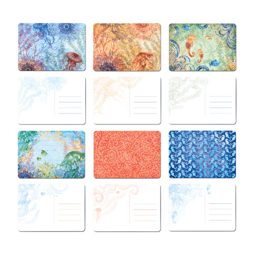 Creative Imaginations - Oceana Collection - Printed Chipboard Postcard Pack