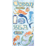 Creative Imaginations - Oceana Collection - Chipboard Stickers with Foil Accents - Oceana
