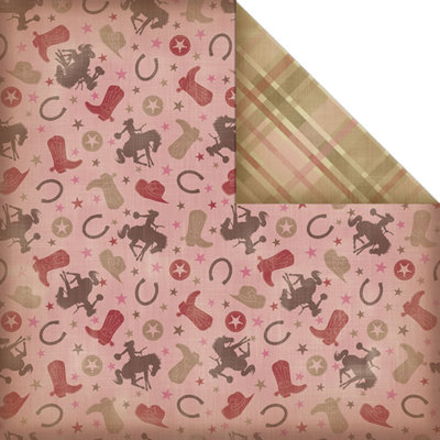 Creative Imaginations - Cowgirl Collection - 12 x 12 Double Sided Paper - Lucky Girl
