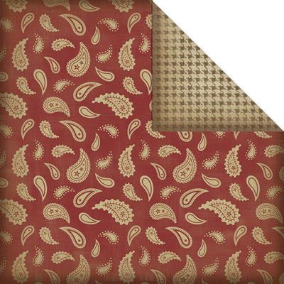 Creative Imaginations - Cowboy Collection - 12 x 12 Double Sided Paper - Red Paisley