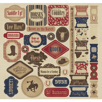 Creative Imaginations - Cowboy Collection - 12 x 12 Cardstock Stickers - Cowboy