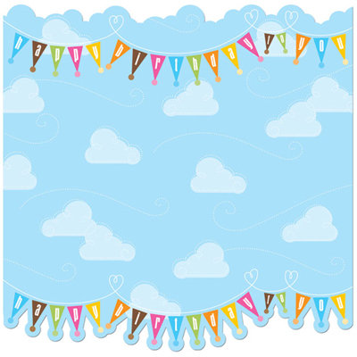 Creative Imaginations - Birthday Bliss Collection - 12 x 12 Glitter Die Cut Paper - Clouds and Banners