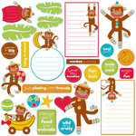 Creative Imaginations - Monkey Business Collection - Glitter Die Cut Pieces - Monkey Business