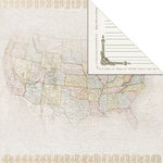 Creative Imaginations - Inspired Traveler Collection - 12 x 12 Double Sided Paper - US Map