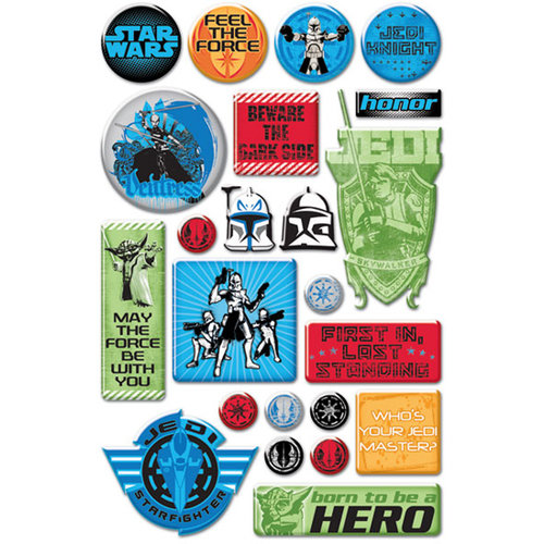Creative Imaginations - Star Wars Clone Wars Collection - Epoxy Stickers - The Clone Wars Phrases