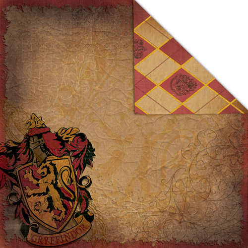 Creative Imaginations - Harry Potter Collection - 12 x 12 Double Sided Paper - Gryffindor Crest