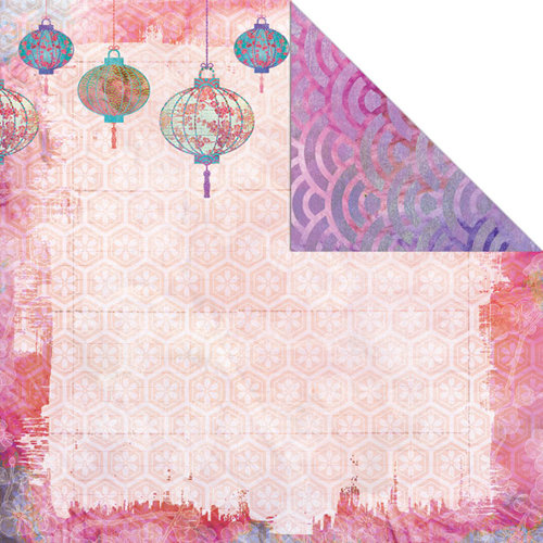 Creative Imaginations - Sakura Collection - 12 x 12 Double Sided Paper - Serenity