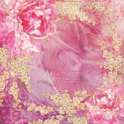 Creative Imaginations - Sakura Collection - 12 x 12 Paper with Foil Accents - Pink Peony