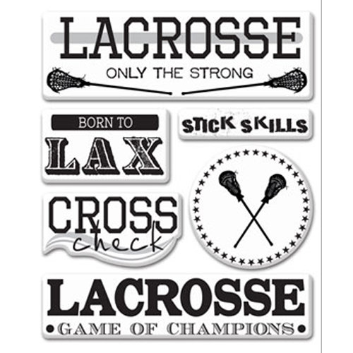 Creative Imaginations - Lacrosse Collection - Epoxy Stickers - Lacrosse