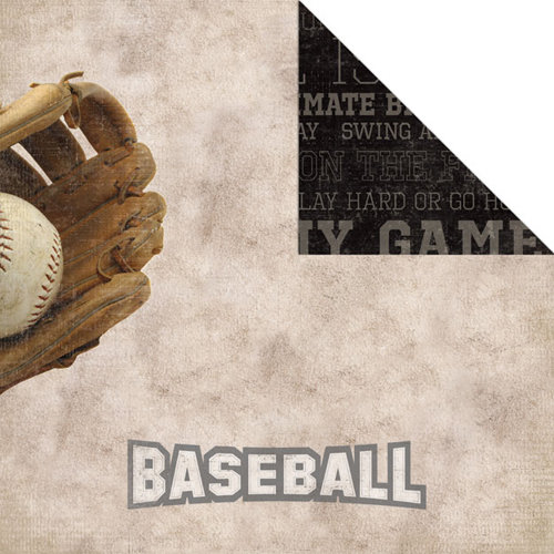 Creative Imaginations - Art Warehouse by Danelle Johnson - Baseball Line Collection - 12 x 12 Double Sided Paper - Baseball
