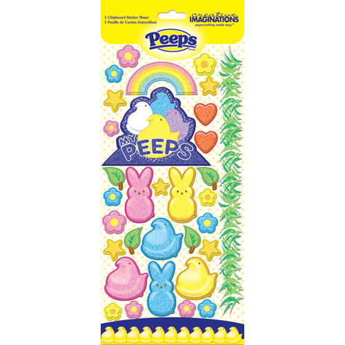 Creative Imaginations - Peeps Collection - Glitter Chipboard Stickers - Peeps