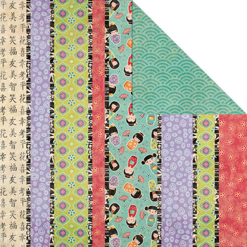 Creative Imaginations - Kokeshi Collection - 12 x 12 Double Sided Paper - Kokeshi Stripe