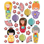 Creative Imaginations - Kokeshi Collection - Epoxy Stickers - Kokeshi