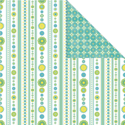 Creative Imaginations - Heidi Collection - 12 x 12 Double Sided Paper - Sky Stripe