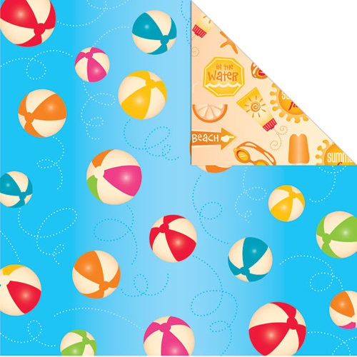 Creative Imaginations - Splish Splash Collection - 12 x 12 Double Sided Paper - Beachballs