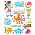 Creative Imaginations - Splish Splash Collection - Epoxy Stickers - Splish Splash