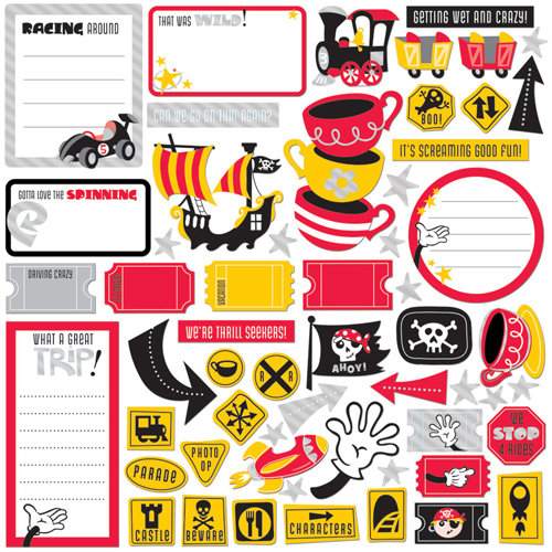 Creative Imaginations - Magic Attractions Collection - Die Cut Pieces with Foil Accents - Magic Attractions Shapes