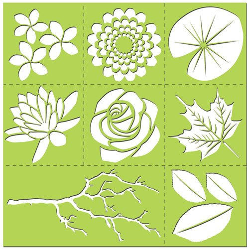 Creative Imaginations - Existencil Expressions Collection - 12 x 12 Stencil Kit Sheet - Floral