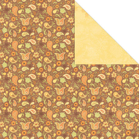 Creative Imaginations - Orchard Harvest Collection - 12 x 12 Double Sided Paper - Pear Paisley