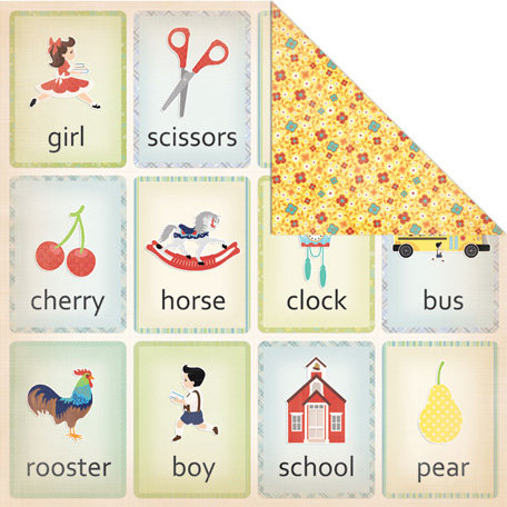 Creative Imaginations - A to Z Collection - 12 x 12 Double Sided Paper - Flashcards