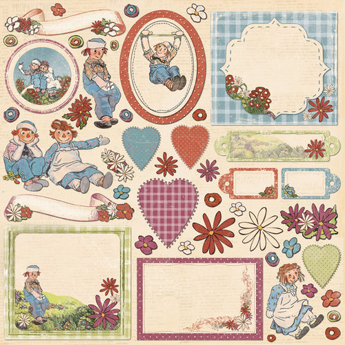 Creative Imaginations - Ragamuffin Collection - Die Cut Cardstock Pieces - Shapes
