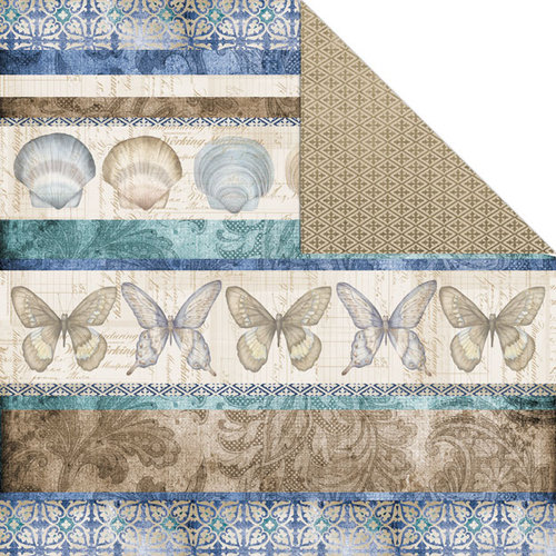 Creative Imaginations - Oceanside Collection - 12 x 12 Double Sided Paper - Sea Stripes