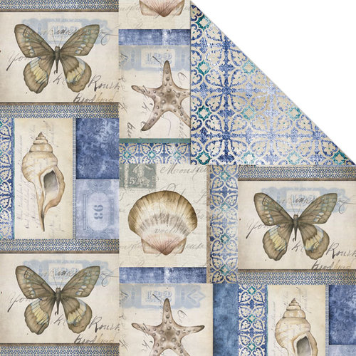 Creative Imaginations - Oceanside Collection - 12 x 12 Double Sided Paper - Del Mar
