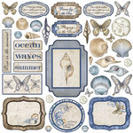 Creative Imaginations - Oceanside Collection - Die Cut Cardstock Pieces