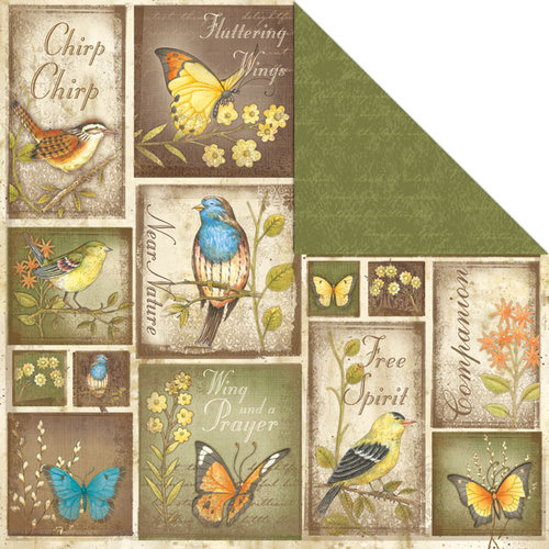 Creative Imaginations - Song Birds Collection - 12 x 12 Double Sided Paper - Fancy Flight