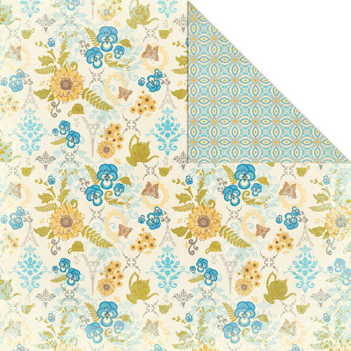 Creative Imaginations - Tea Party Collection - 12 x 12 Double Sided Paper - Blue Pansies