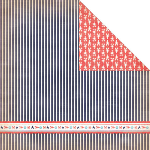 Creative Imaginations - Nautical Collection - 12 x 12 Double Sided Paper - Sea Stripe