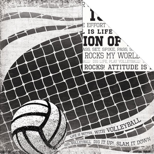 Creative Imaginations - Volleyball Collection - 12 x 12 Double Sided Paper - Volleyball Net
