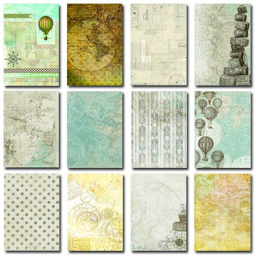 Splash of Color - Mixed Media 101 - Collage Paper Pack - Travel