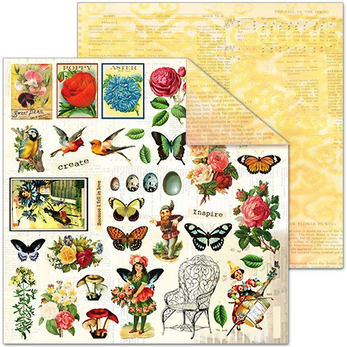 Splash of Color - Le Jardin Collection - 12 x 12 Double Sided Paper - Seedlings