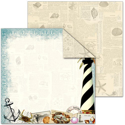 Splash of Color - Shell Seeker Collection - 12 x 12 Double Sided Paper - Light House