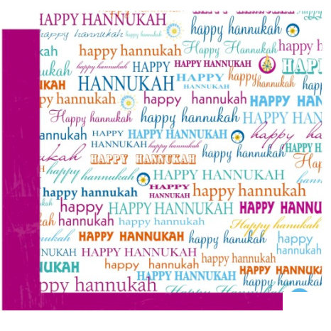 Crafting Jewish Style - Hannukah Collection - 12 x 12 Double Sided Paper - Happy Hannukah, CLEARANCE