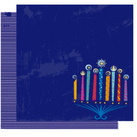 Crafting Jewish Style - Hannukah Collection - 12 x 12 Double Sided Paper - Menorah Glow