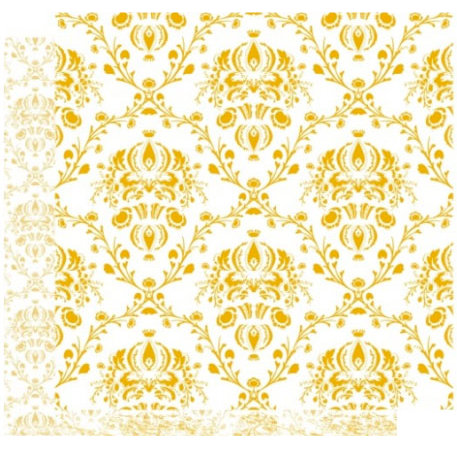 Crafting Jewish Style - Rosh Hashanah Collection - 12 x 12 Double Sided Paper - Golden Damask