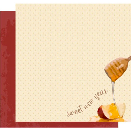 Crafting Jewish Style - Rosh Hashanah Collection - 12 x 12 Double Sided Paper - Apple and Honey, CLEARANCE