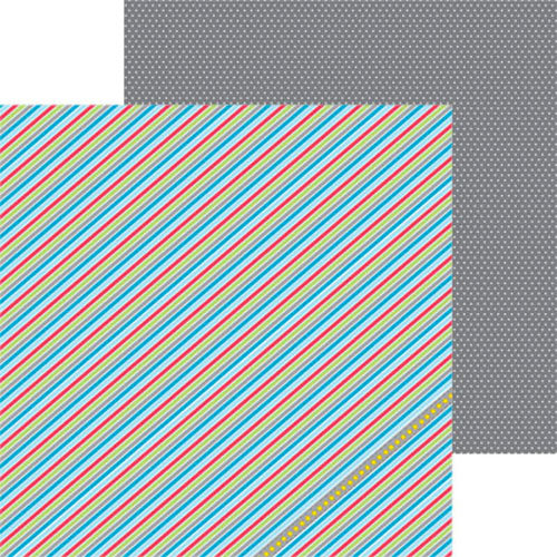 Clever Handmade - Out of This World Collection - 12 x 12 Double Sided Paper - Barber Stripe