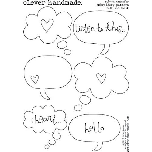 Clever Handmade - Embroidery Patterns - Rub Ons - Talk and Think