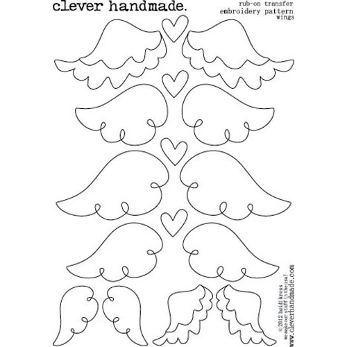 Clever Handmade - Embroidery Patterns - Rub Ons - Wings