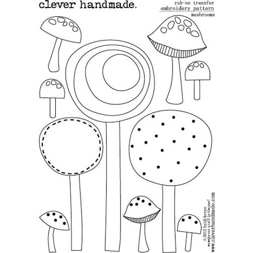 Clever Handmade - Embroidery Patterns - Rub Ons - Mushrooms