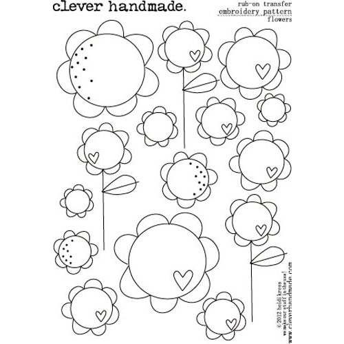 Clever Handmade - Embroidery Patterns - Rub Ons - Flowers