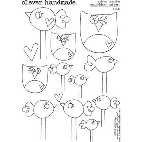 Clever Handmade - Embroidery Patterns - Rub Ons - Birds