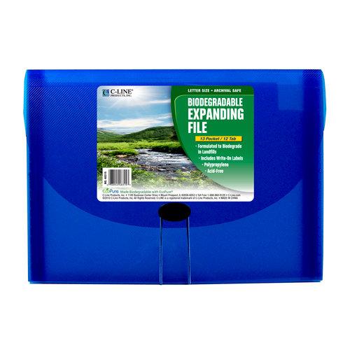 C-Line - Biodegradable Expanding File - 13-Pocket - Blue