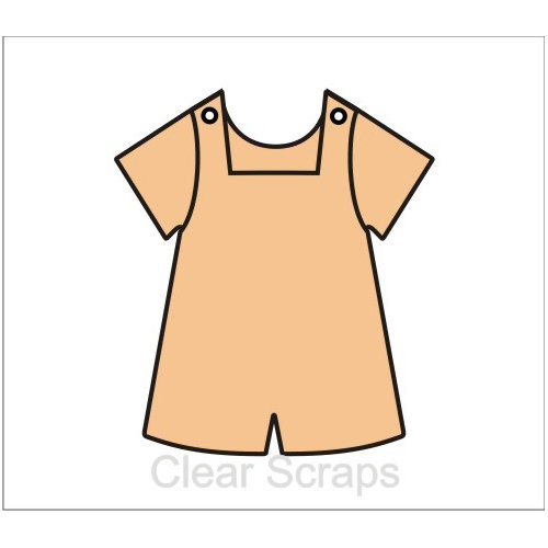 Clear Scraps - Chipboard Album - Boy Bib Overalls