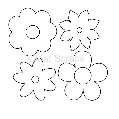 Clear Scraps - Clear Acrylic Shapes - Flowers