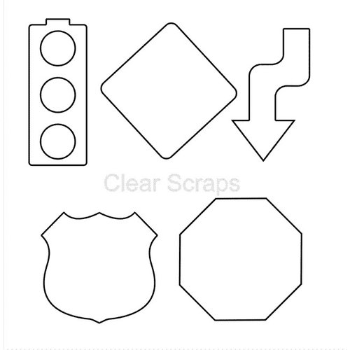 Clear Scraps - Clear Acrylic Shapes - Road Trip